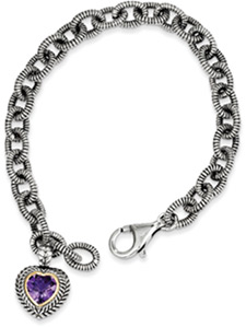 Amethyst Heart Bracelet in Sterling Silver & 14K Gold