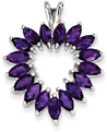 Marquis Amethyst Heart Pendant, Sterling Silver