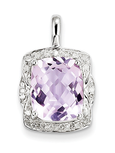 4.67 Carat Pink Amethyst and Diamond Pendant in Sterling Silver