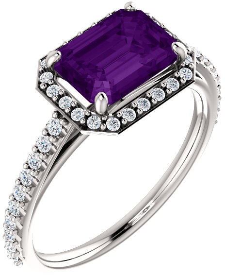 8x6mm Emerald-Cut Amethyst and Diamond Engagement Ring