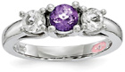 Purple Swarovski and White Topaz Three Stone Ring
