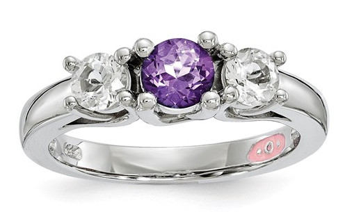 Purple Swarovski and White Topaz Three Stone Ring