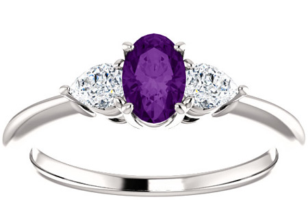 Purple Amethyst and Pear-Shaped Diamond Three Stone Ring
