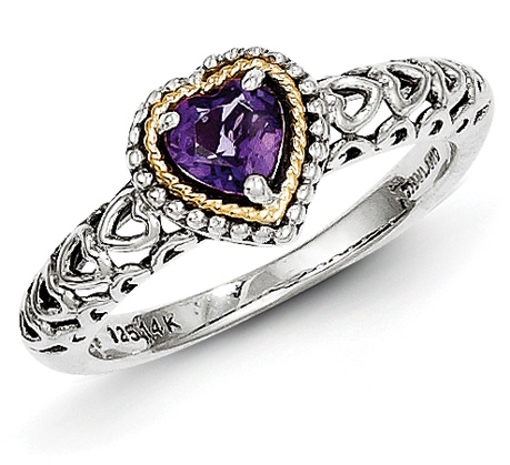 Heart Amethyst Sterling Silver and 14K Gold Ring