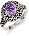 Amethyst Sterling Silver & 14K Gold Paisley Floral Ring