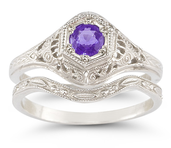 Antique-Style Amethyst Bridal Wedding Ring Set