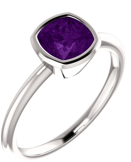 Bezel-Set Square Cushion-Cut Amethyst Ring in Sterling Silver