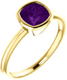 Cushion-Cut Amethyst Ring Bezel-Set in 14K Yellow Gold
