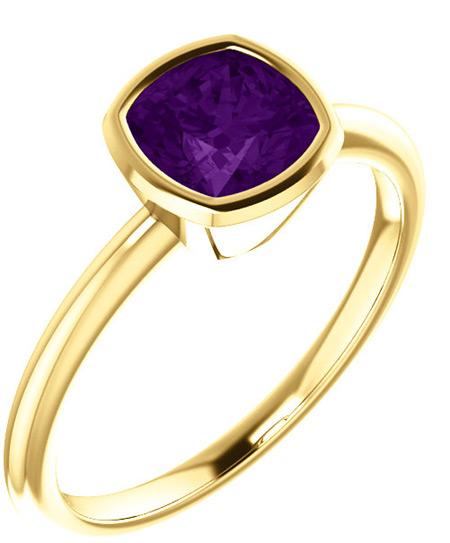 Cushion-Cut Amethyst Ring Bezel-Set in 14K Yellow Gold