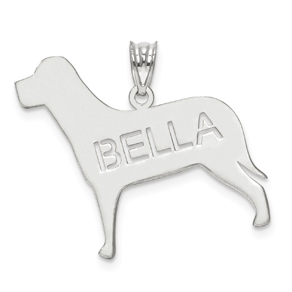 14K White Gold Personalized Dog Name Pendant