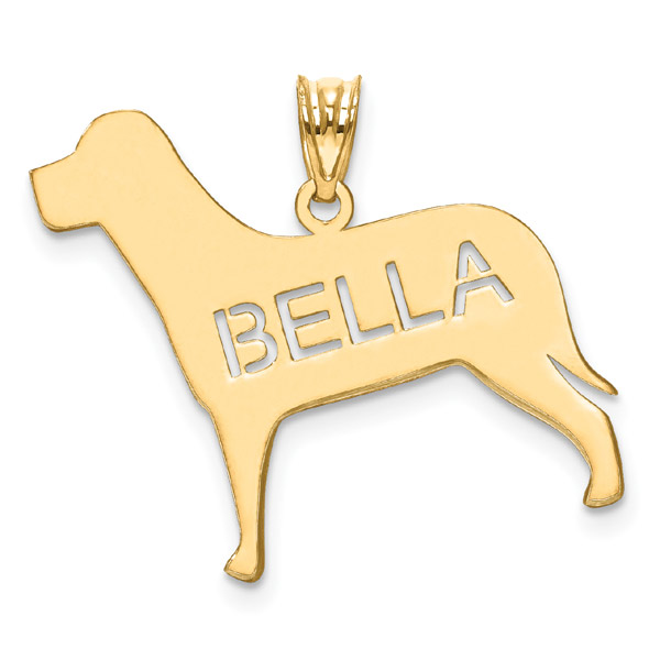 Personalized Dog Name Necklace in 14K Gold