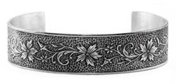 Edwardian-Style Flower and Buds Cuff Bangle Bracelet, Sterling Silver