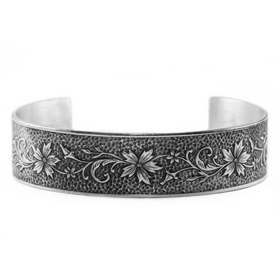 Edwardian-Style Flower and Buds Cuff Bangle Bracelet, Sterling Silver