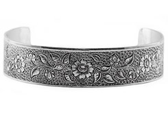 Antique-Style Engraved Flower Cuff Bangle Bracelet in Sterling Silver