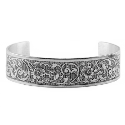 Victorian-Style Vintage Floral Cuff Bangle Bracelet in Sterling Silver