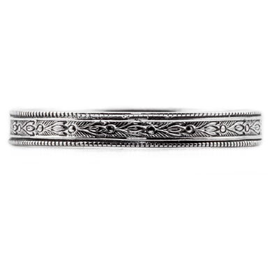 Victorian-Era Vintage-Inspired Floral Band in Sterling Silver