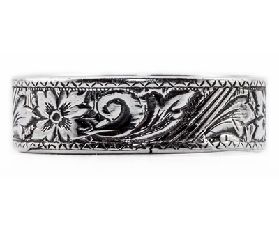 Estate-Style Flower Scroll Band in Sterling Silver