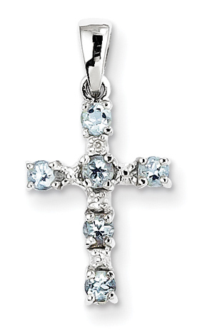 Aquamarine Christian Cross Pendant, Sterling Silver