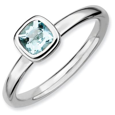 Cushion-Cut Aquamarine Bezel-Set Polished Gemstone Ring in Sterling Silver