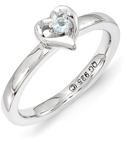 Aquamarine Solitaire Heart Ring in Sterling Silver
