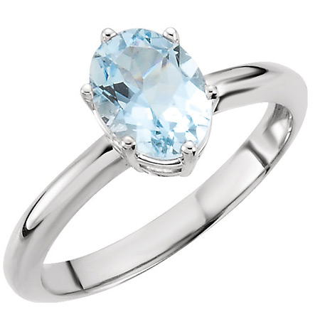 1 Carat Oval Aquamarine Solitaire Ring, 14K White Gold