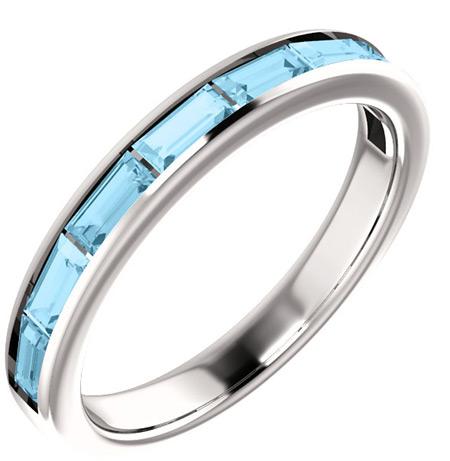 Eight-Stone Baguette Aquamarine Ring, 14K White Gold
