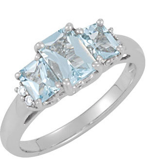 1.17 Carat Three-Stone Emerald-Cut Aquamarine Ring, 14K White Gold