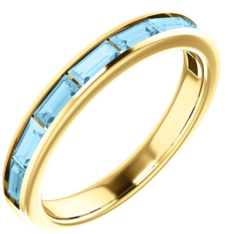 14K Yellow Gold Baguette Aquamarine Band
