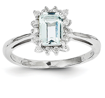 Genuine Emerald-Cut Aquamarine and Diamond Ring, 14K White Gold