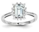 Genuine Emerald-Cut Aquamarine and Diamond Ring, 14K White Gold