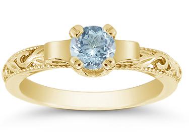 yellow gold aquamarine rings