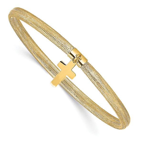 14K Gold Italian Cross Charm Stretch Bangle Bracelet