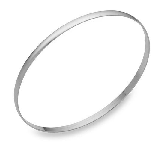 14K White Gold Bangle Bracelet, 2mm