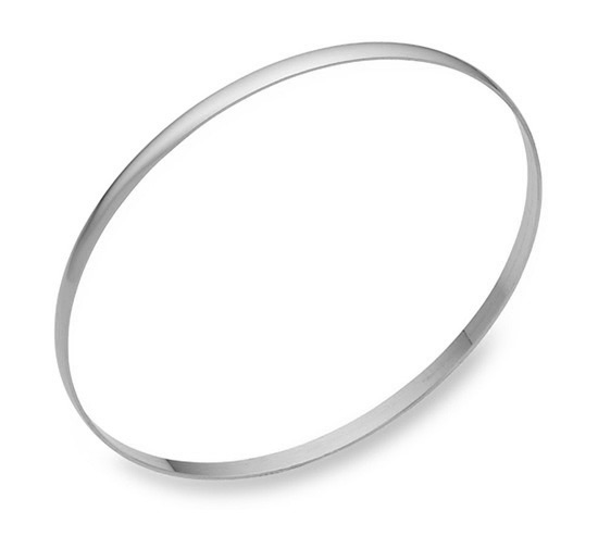 14K Solid White Gold Bangle Bracelet, 3mm