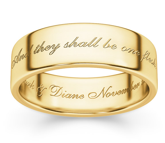 And They Shall Be One Flesh Wedding Band Ring