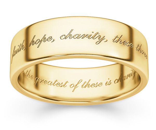 Faith Hope Charity Bible Verse Ring in 14K Gold