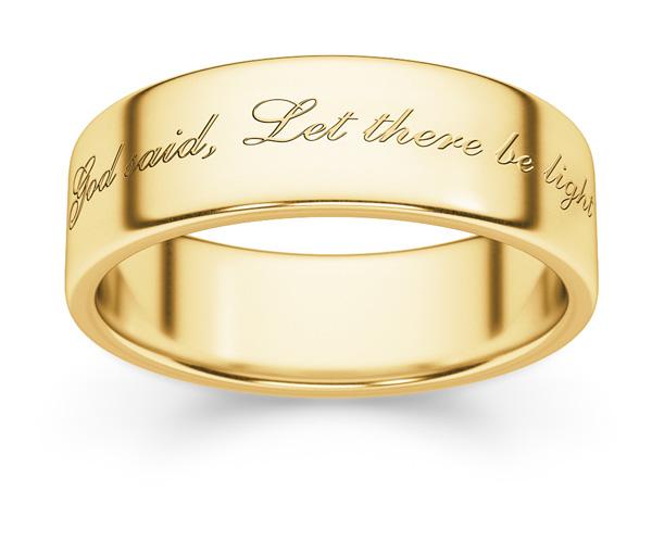 Genesis Bible Verse Wedding Band Ring in 14K Gold