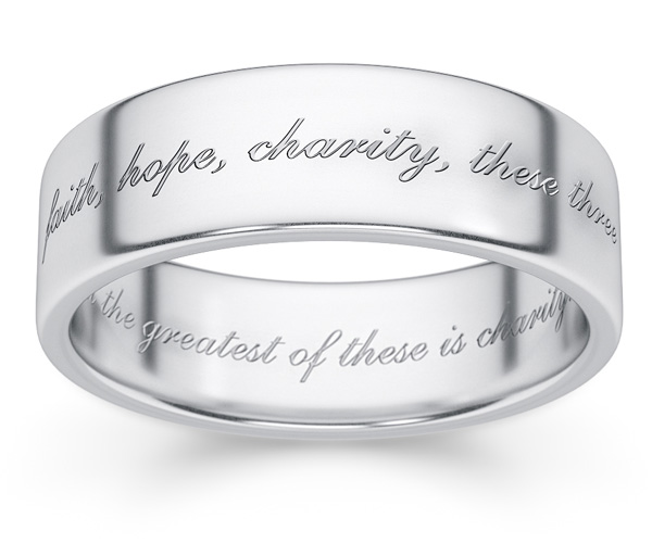 sterling silver 1 Corinthians 13 wedding ring