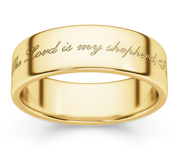 Psalm 23 Bible Verse Ring in 14K Gold