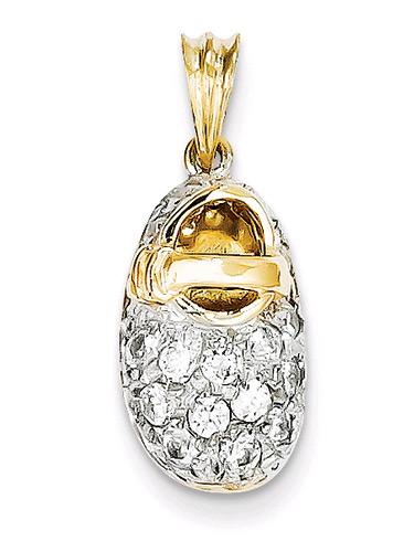 April CZ Cubic Zirconia Baby Shoe Birthstone Pendant, 14K Gold