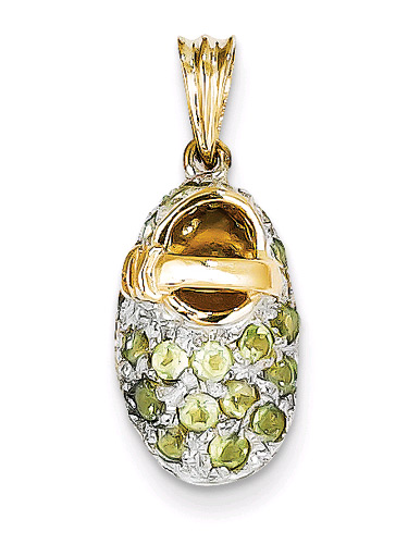 August Birthstone Peridot Baby Shoe Charm, 14K Gold