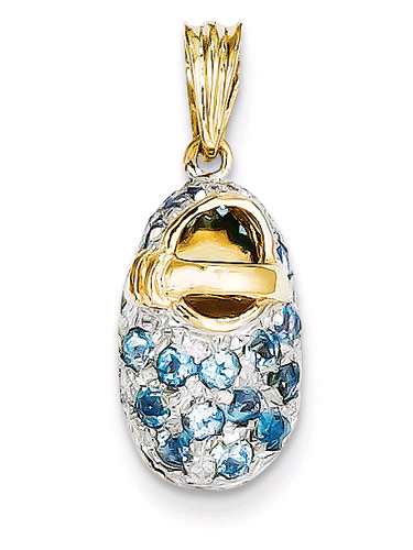 December Birthstone Blue Topaz Baby Shoe Pendant, 14K Gold