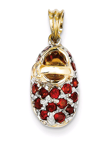 January Garnet Baby Shoe Birthstone Pendant, 14K Gold