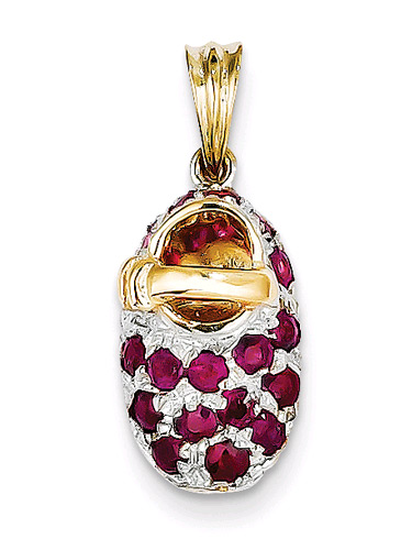 July Birthstone Ruby Baby Shoe Pendant in 14K Gold