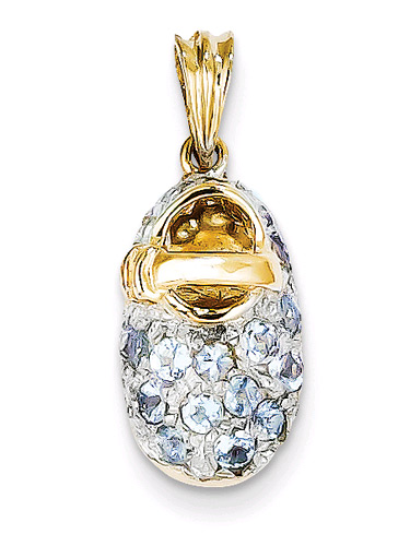 March Aquamarine Baby Shoe Birthstone Charm Pendant, 14K Gold
