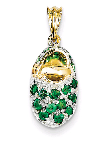 May Emerald Birthstone Baby Shoe Pendant, 14K Gold