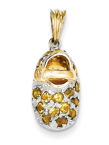 November Birthstone Citrine Baby Shoe Pendant Charm, 14K Gold