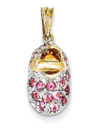 Pink Tourmaline October Birthstone Baby Shoe Charm Pendant, 14K Gold