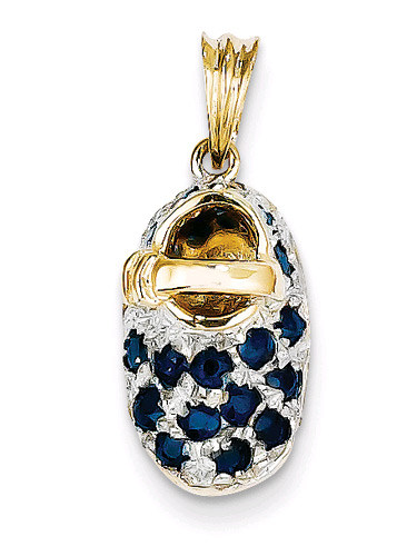 September Birthstone Sapphire Baby Shoe Charm Pendant, 14K Gold