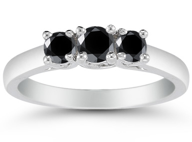 1/2 Carat Three Stone Black Diamond Ring, 14K White Gold